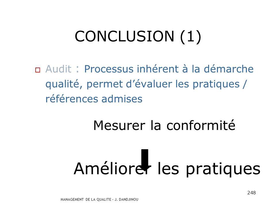 MANAGEMENT DE LA QUALITE – J. DANDJINOU 247 CONNAISSANCES – APTITUDES Niveau détudes approprié : Baccalauréat Formation / Formation complémentaire : C