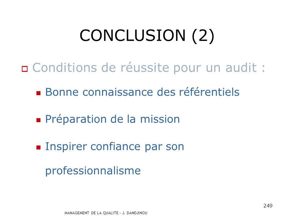 MANAGEMENT DE LA QUALITE – J. DANDJINOU 248 CONCLUSION (1) Audit : Processus inhérent à la démarche qualité, permet dévaluer les pratiques / référence