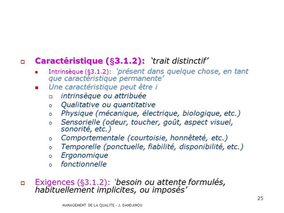 MANAGEMENT DE LA QUALITE – J. DANDJINOU 24 Selon la norme ISO 9000:2000 Qualité aptitude dun ensemble de caractéristiques aptitude dun ensemble de car