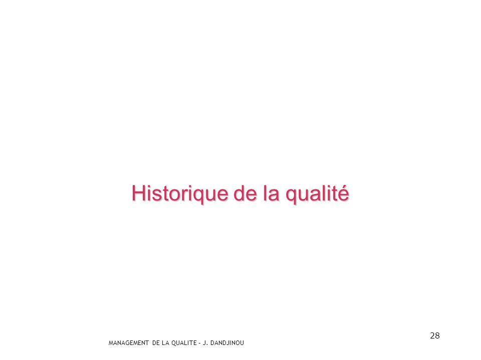 MANAGEMENT DE LA QUALITE – J. DANDJINOU 27 Lobjectif : parvenir à une qualité maîtrisée Insatisfaction Chance Sur-qualité Inutilité Nimporte-quoi Non-