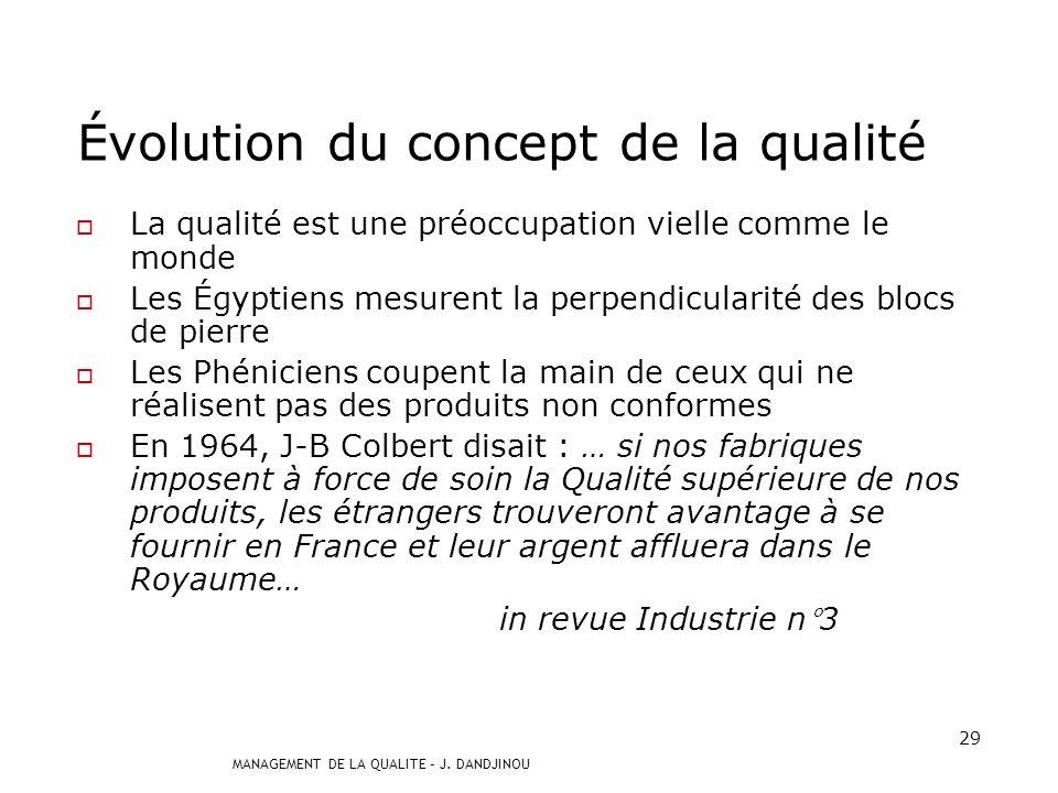 MANAGEMENT DE LA QUALITE – J. DANDJINOU 28 Historique de la qualité