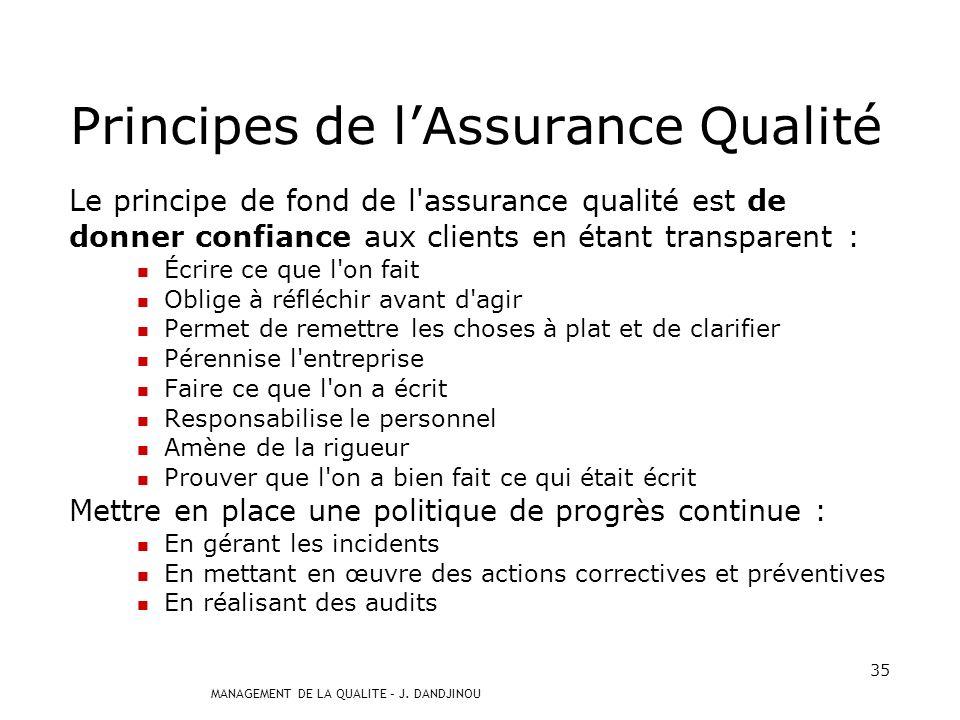 MANAGEMENT DE LA QUALITE – J. DANDJINOU 34 Assurance de la qualité : Définition : management de la qualité visant à donner confiance en ce que les exi