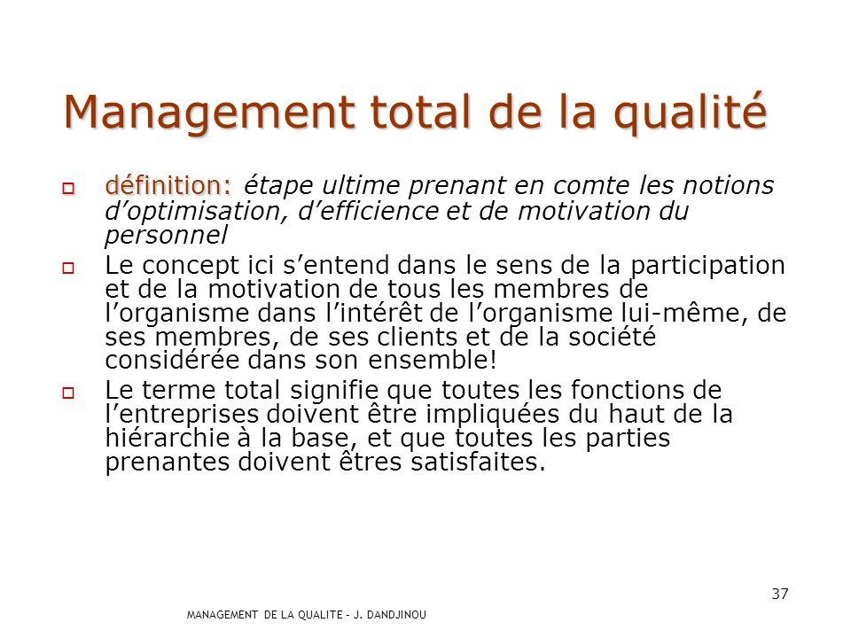 MANAGEMENT DE LA QUALITE – J. DANDJINOU 36 Management de la qualité définition: définition: activités coordonnées permettant dorienter et de contrôler