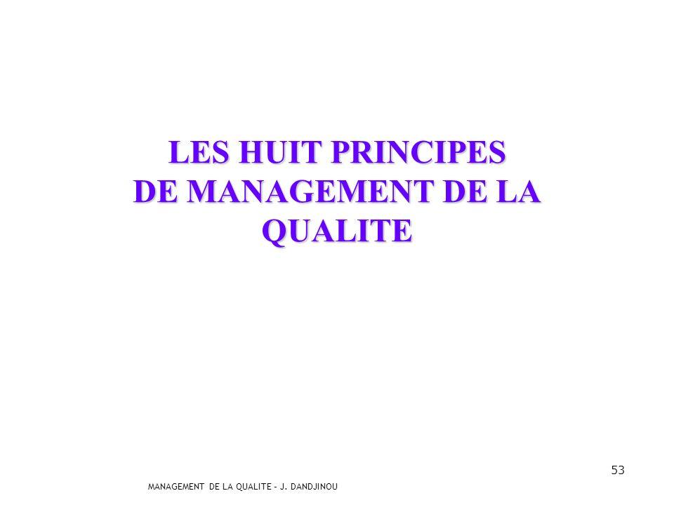 MANAGEMENT DE LA QUALITE – J. DANDJINOU 52 La qualité, je nai pas le temps ! Certains propos sont souvent entendus : Jai mes deux collègues qui sont m