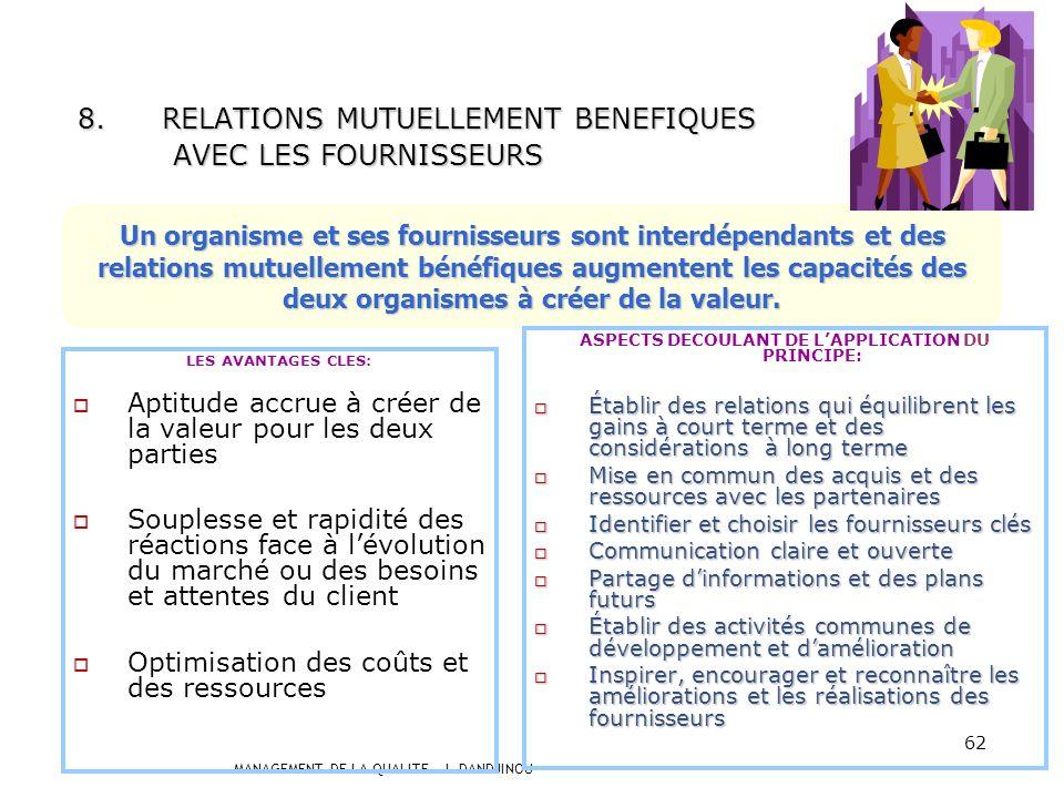 MANAGEMENT DE LA QUALITE – J. DANDJINOU 61 Les décisions efficaces se fondent sur lanalyse de données et dinformations 7.APPROCHE FACTUELLE POUR LA PR