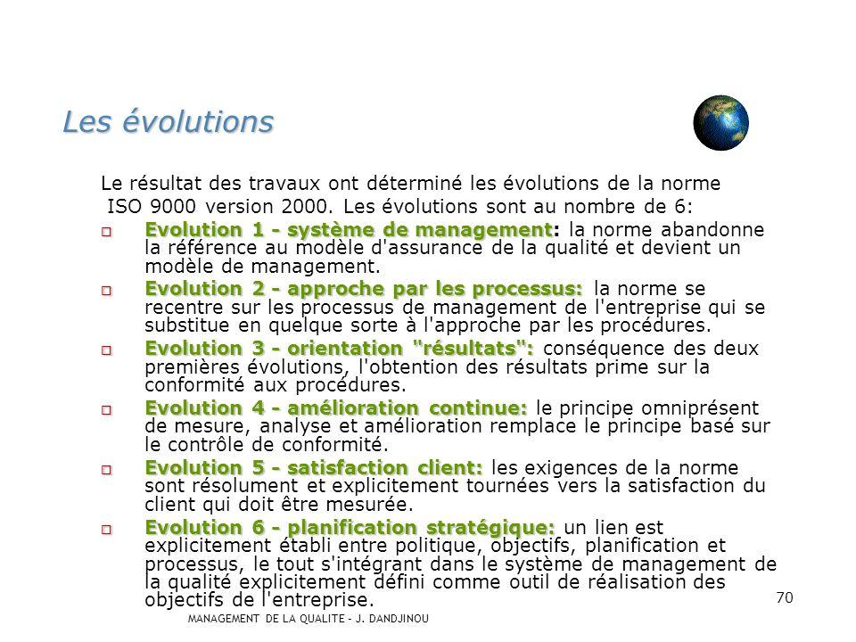 MANAGEMENT DE LA QUALITE – J. DANDJINOU 69 Famille des normes ISO 9000 ISO 9000: 2000 Principes essentiels et vocabulaire ISO 19011: 2000 Audit des sy