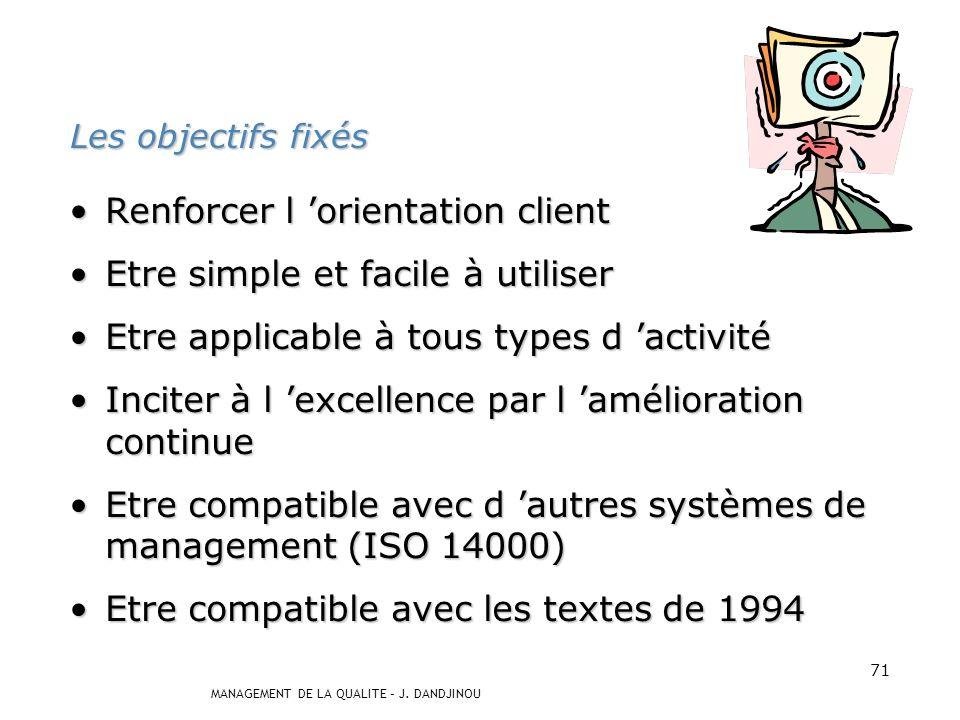 MANAGEMENT DE LA QUALITE – J. DANDJINOU 70 Les évolutions Le résultat des travaux ont déterminé les évolutions de la norme ISO 9000 version 2000. Les