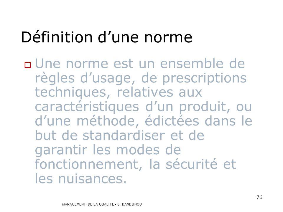 MANAGEMENT DE LA QUALITE – J. DANDJINOU 75 ISO 9001:2000 EXIGENCES Chapitre 4-5