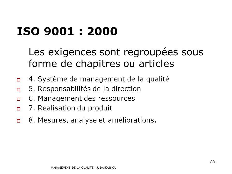 MANAGEMENT DE LA QUALITE – J. DANDJINOU 79 Système de management de la qualité 4 Amélioration continue du système de management de la qualité 5 Respon