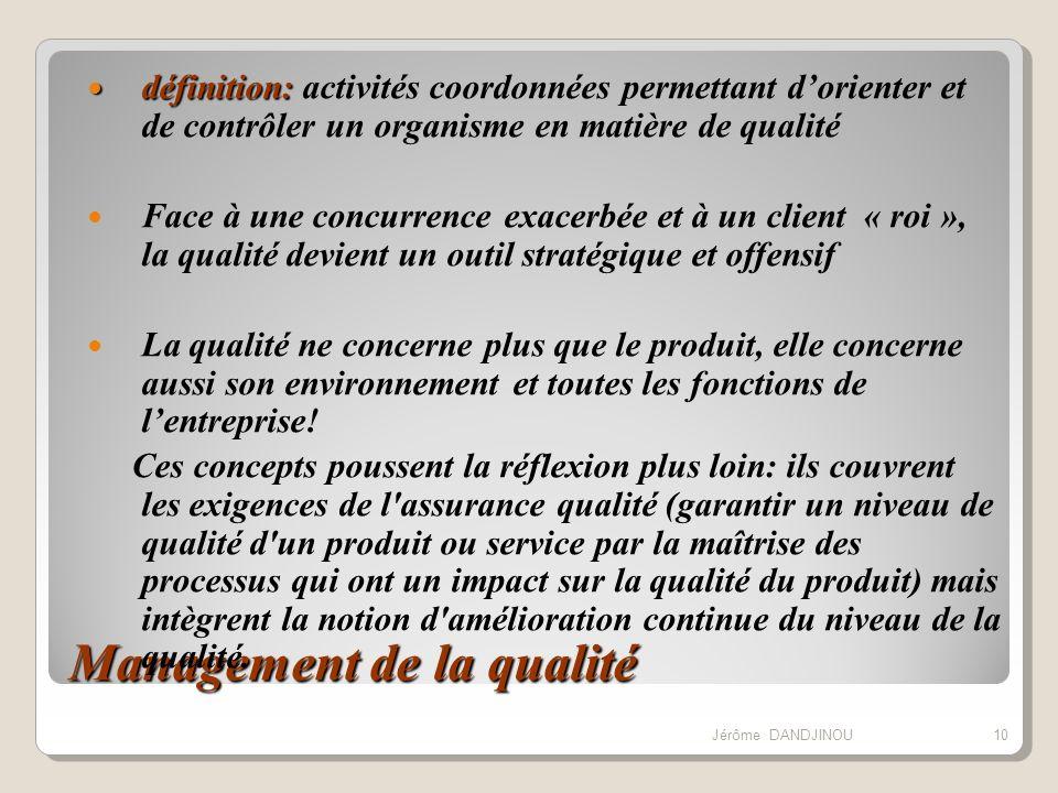 Management de la qualité définition: définition: activités coordonnées permettant dorienter et de contrôler un organisme en matière de qualité Face à