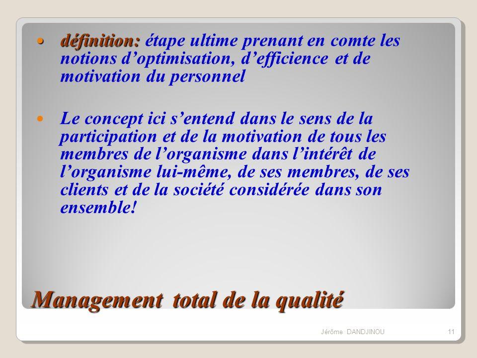 Management total de la qualité définition: définition: étape ultime prenant en comte les notions doptimisation, defficience et de motivation du person