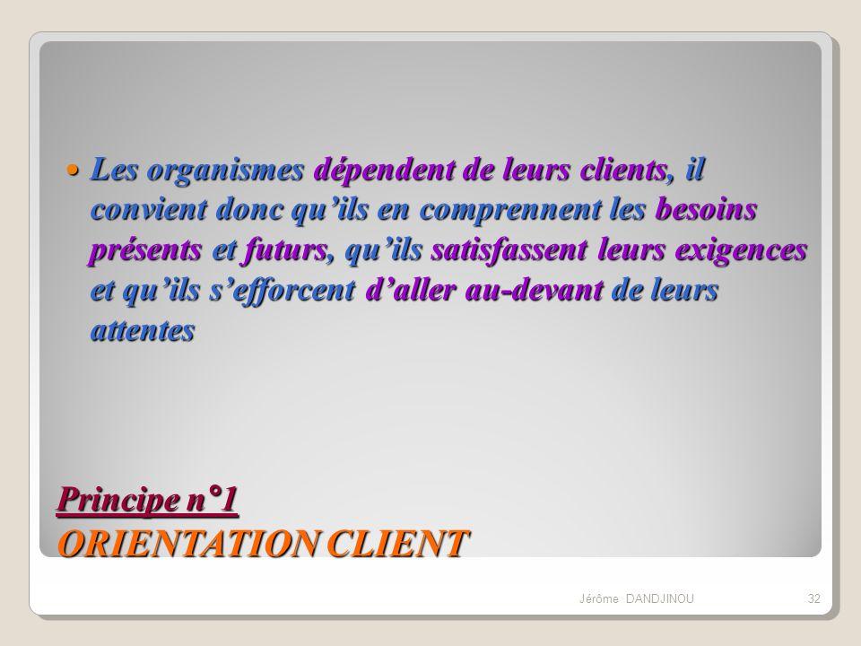 Principe n°1 ORIENTATION CLIENT Les organismes dépendent de leurs clients, il convient donc quils en comprennent les besoins présents et futurs, quils