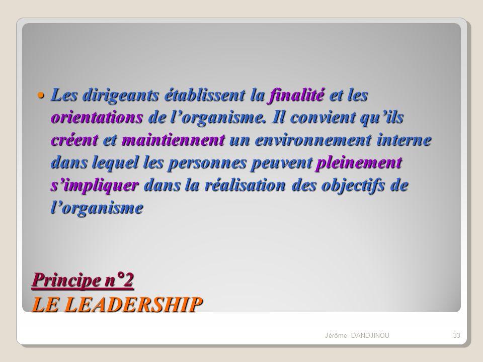 Principe n°2 LE LEADERSHIP Les dirigeants établissent la finalité et les orientations de lorganisme. Il convient quils créent et maintiennent un envir