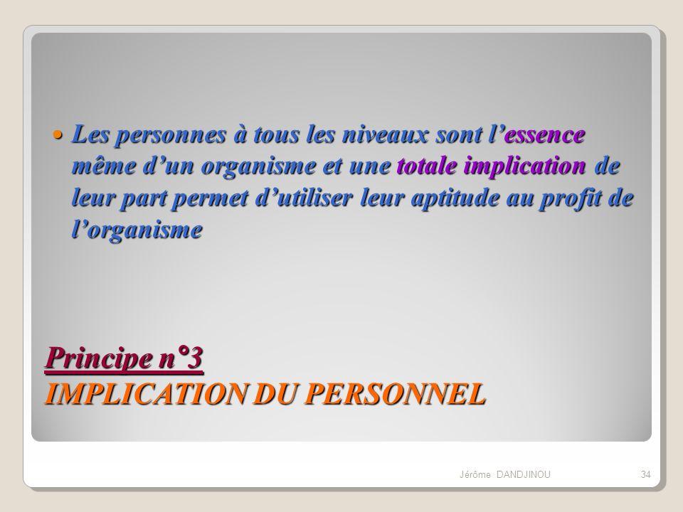 Principe n°3 IMPLICATION DU PERSONNEL Les personnes à tous les niveaux sont lessence même dun organisme et une totale implication de leur part permet