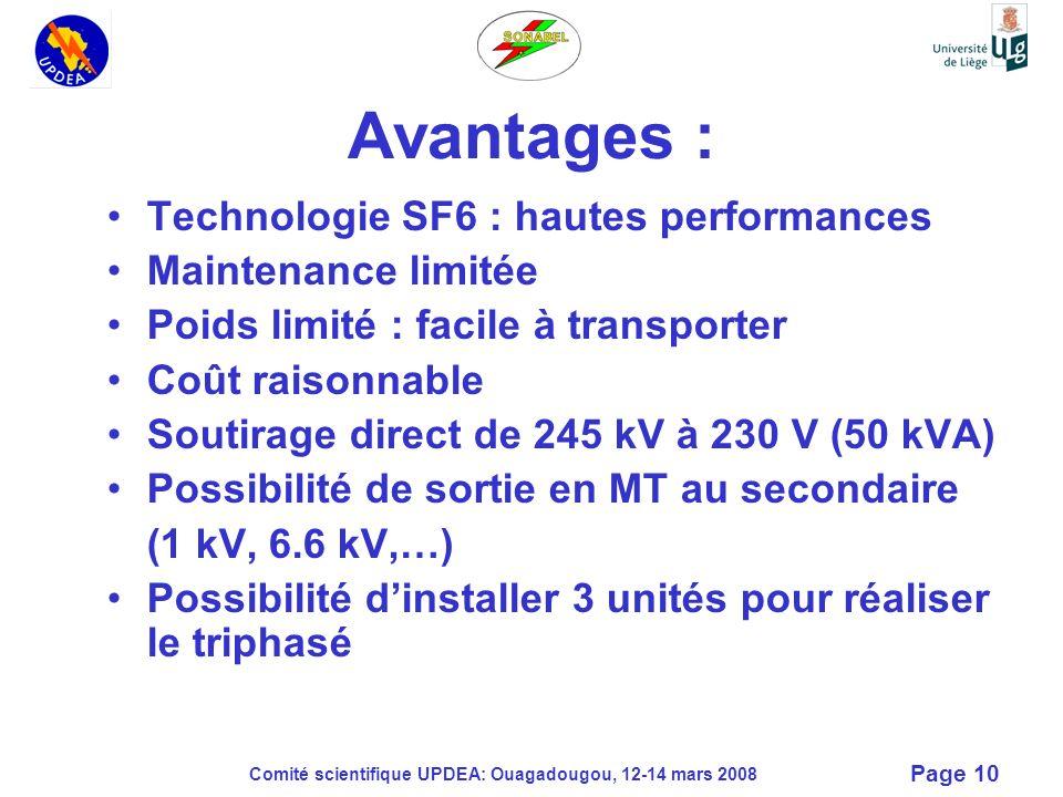 Comité scientifique UPDEA: Ouagadougou, 12-14 mars 2008 Page 10 Technologie SF6 : hautes performances Maintenance limitée Poids limité : facile à tran