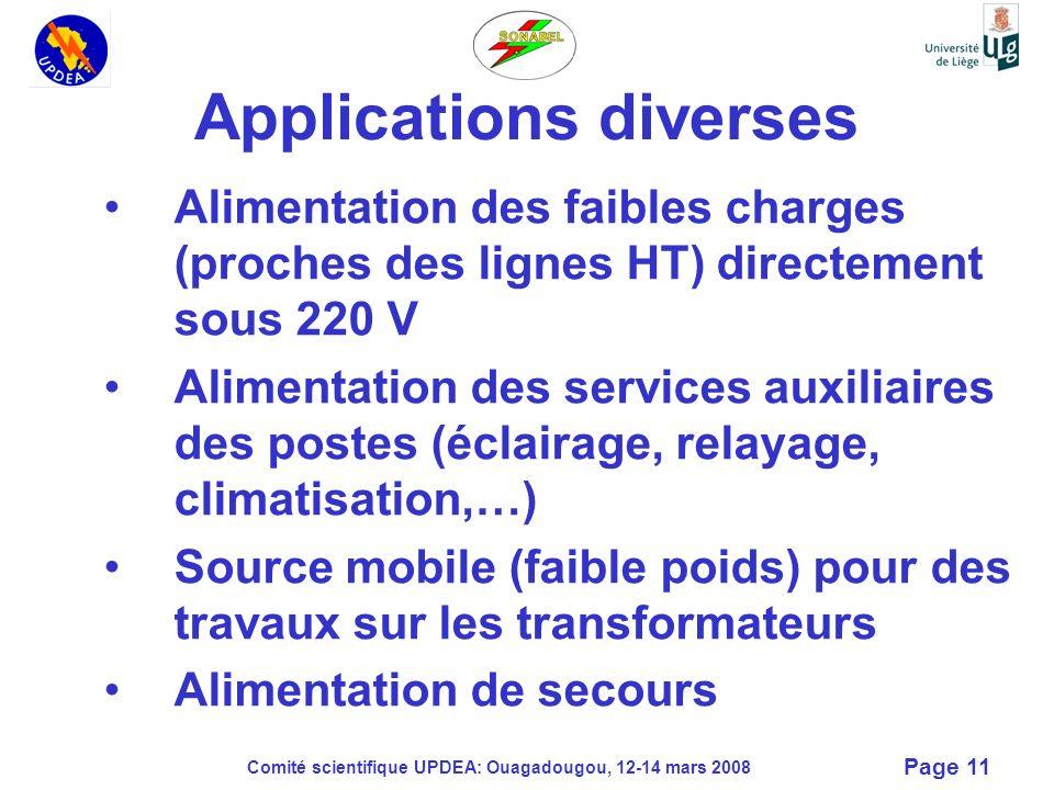 Comité scientifique UPDEA: Ouagadougou, 12-14 mars 2008 Page 11 Applications diverses Alimentation des faibles charges (proches des lignes HT) directe