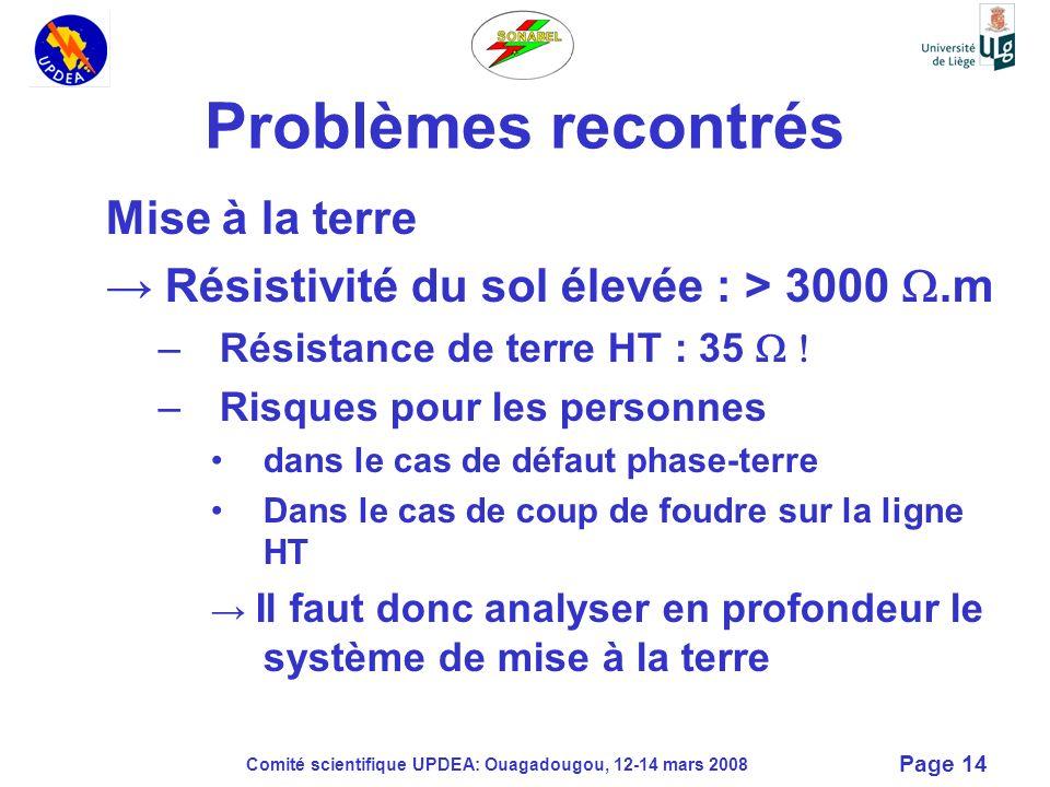 Comité scientifique UPDEA: Ouagadougou, 12-14 mars 2008 Page 14 Problèmes recontrés Mise à la terre Résistivité du sol élevée : > 3000.m –Résistance d