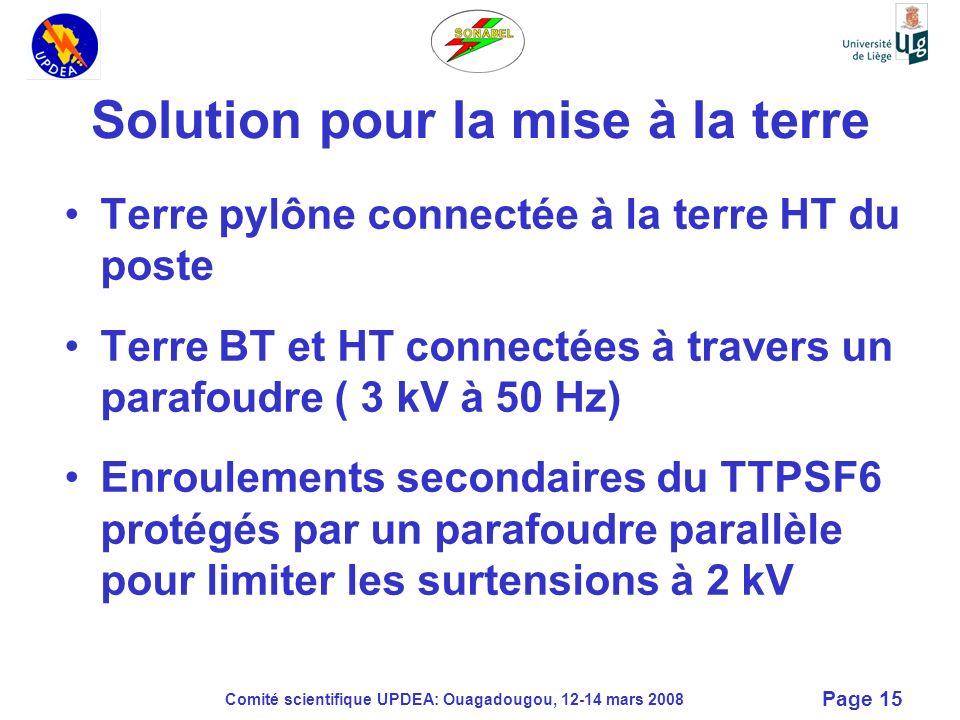 Comité scientifique UPDEA: Ouagadougou, 12-14 mars 2008 Page 15 Solution pour la mise à la terre Terre pylône connectée à la terre HT du poste Terre B