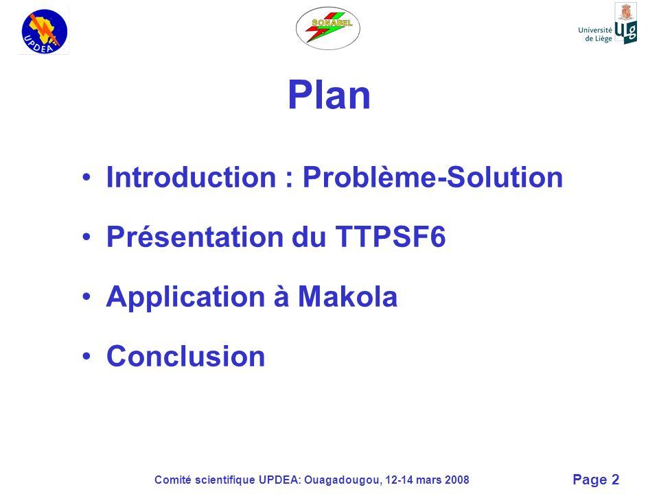 Comité scientifique UPDEA: Ouagadougou, 12-14 mars 2008 Page 13 Données de base Makola Nombre dhabitants : 1000 Charge : –Pompage de leau 4,375 kVA –Éclairage public 8,5 kVA –Consommation privée 28,23 kVA –Centre de soins 4,375 kVA –Artisanat 6,25 kVA Total 51,73*0,8 = 41,3 kVA Niveau kéraunique élevé : > 100 Date dinstallation : 17 avril 2002