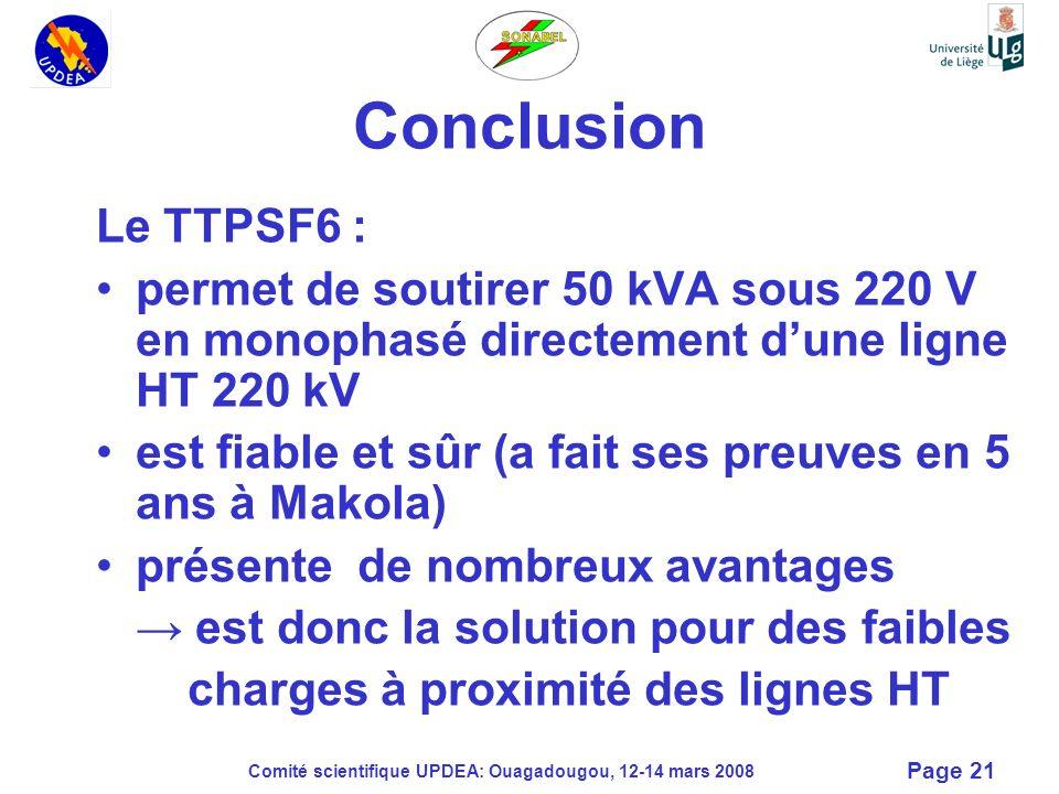 Comité scientifique UPDEA: Ouagadougou, 12-14 mars 2008 Page 21 Conclusion Le TTPSF6 : permet de soutirer 50 kVA sous 220 V en monophasé directement d