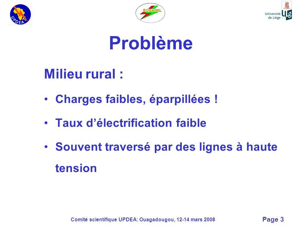 Comité scientifique UPDEA: Ouagadougou, 12-14 mars 2008 Page 3 Problème Milieu rural : Charges faibles, éparpillées ! Taux délectrification faible Sou