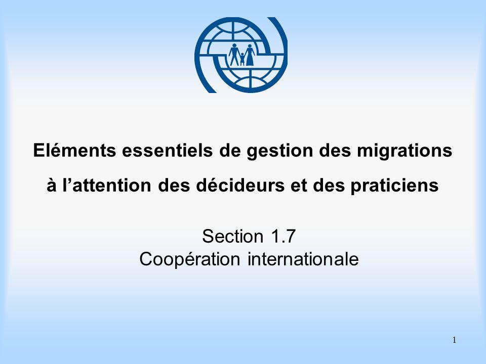 2 Eléments essentiels de gestion des migrations Section 1.7 Coopération Internationale Objectifs dapprentissage Approfondir votre connaissance des modes et des mécanismes de la coopération internationale dans le domaine de la gestion des migrations.