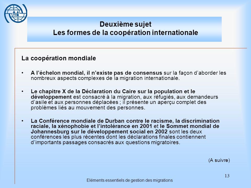 14 Eléments essentiels de gestion des migrations Deuxième sujet Les formes de la coopération internationale Linitiative de Berne est un processus consultatif relevant des Etats dont lobjet est darriver à mieux gérer la migration aux niveaux national, régional et mondial grâce à une coopération entre les Etats.