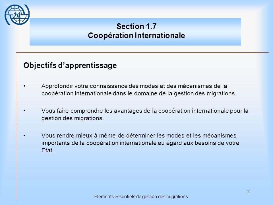 3 Eléments essentiels de gestion des migrations Section 1.7 Coopération internationale Titres des sujets Premier sujet: Les fondements de la coopération internationale Deuxième sujet: Les formes de coopération internationale Troisième sujet: La concrétisation des avantages de la coopération internationale