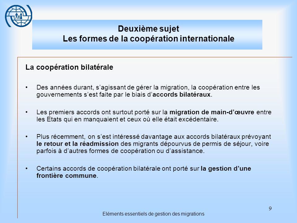 9 Eléments essentiels de gestion des migrations Deuxième sujet Les formes de la coopération internationale La coopération bilatérale Des années durant, sagissant de gérer la migration, la coopération entre les gouvernements sest faite par le biais daccords bilatéraux.