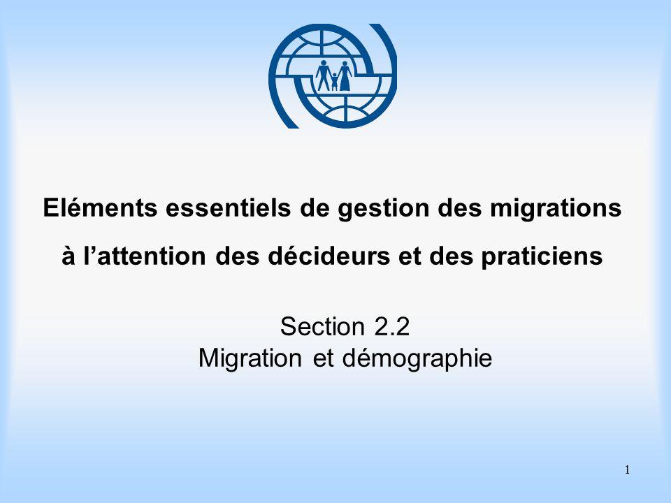 1 Eléments essentiels de gestion des migrations à lattention des décideurs et des praticiens Section 2.2 Migration et démographie