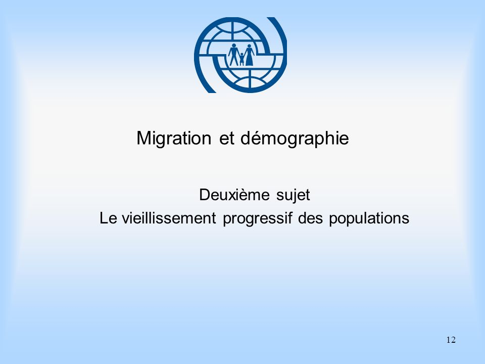 12 Migration et démographie Deuxième sujet Le vieillissement progressif des populations