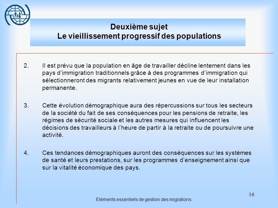 16 Eléments essentiels de gestion des migrations Deuxième sujet Le vieillissement progressif des populations 2.Il est prévu que la population en âge d