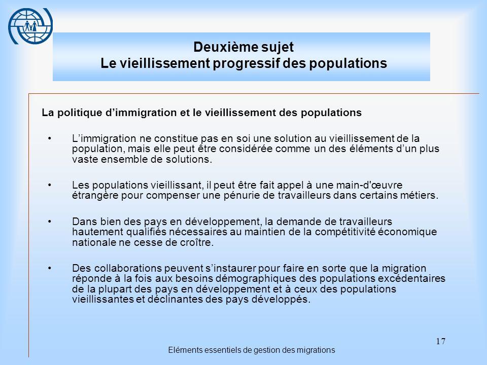 17 Eléments essentiels de gestion des migrations Deuxième sujet Le vieillissement progressif des populations La politique dimmigration et le vieilliss
