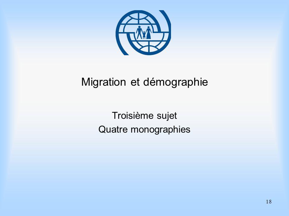 18 Migration et démographie Troisième sujet Quatre monographies