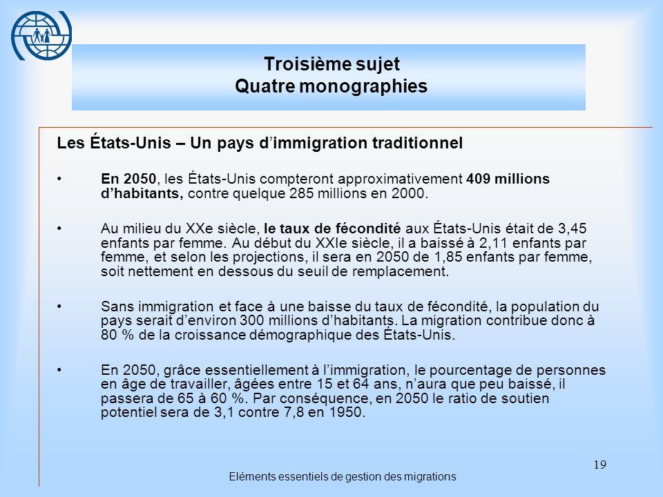 19 Eléments essentiels de gestion des migrations Troisième sujet Quatre monographies Les États-Unis – Un pays dimmigration traditionnel En 2050, les É