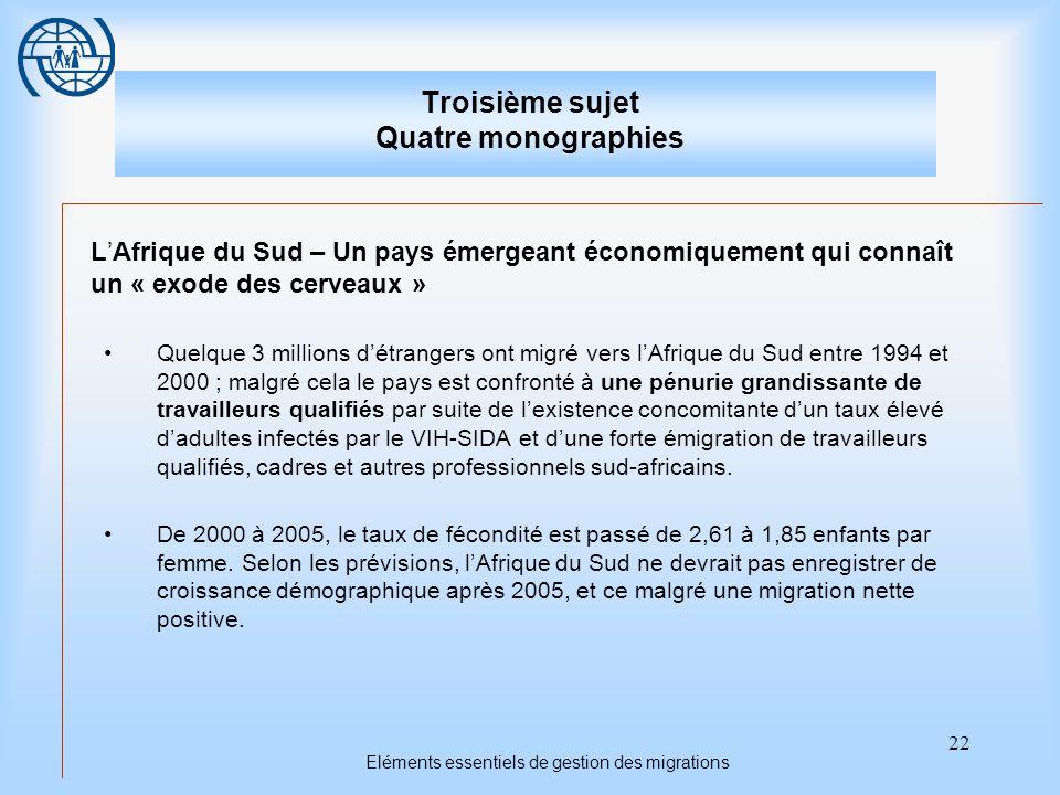 22 Eléments essentiels de gestion des migrations Troisième sujet Quatre monographies LAfrique du Sud – Un pays émergeant économiquement qui connaît un