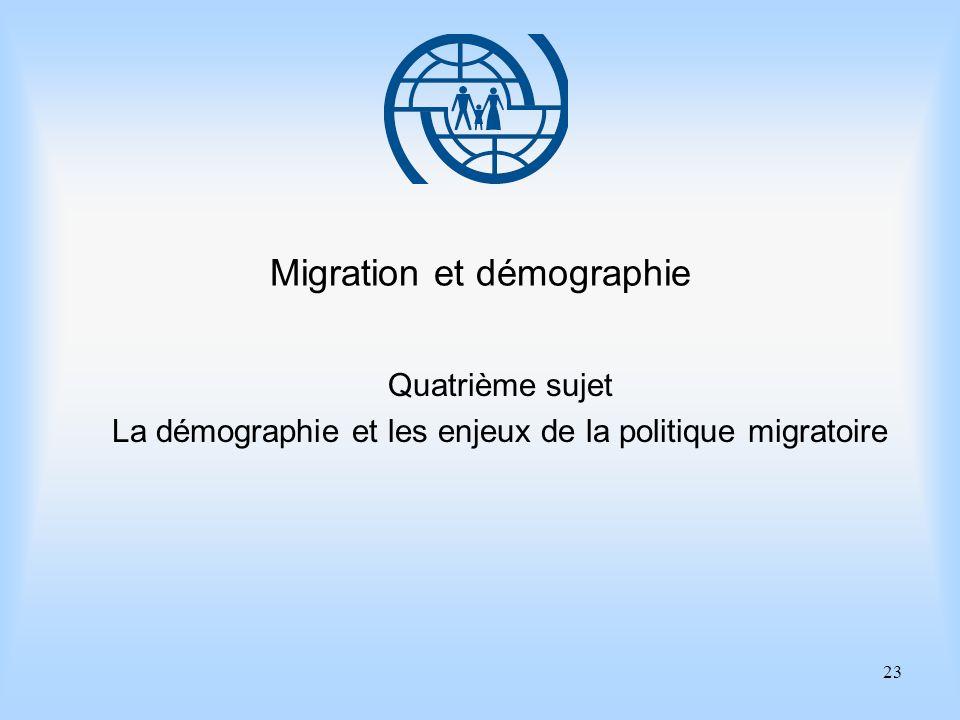 23 Migration et démographie Quatrième sujet La démographie et les enjeux de la politique migratoire