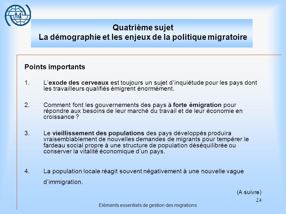 24 Eléments essentiels de gestion des migrations Quatrième sujet La démographie et les enjeux de la politique migratoire Points importants 1.Lexode de