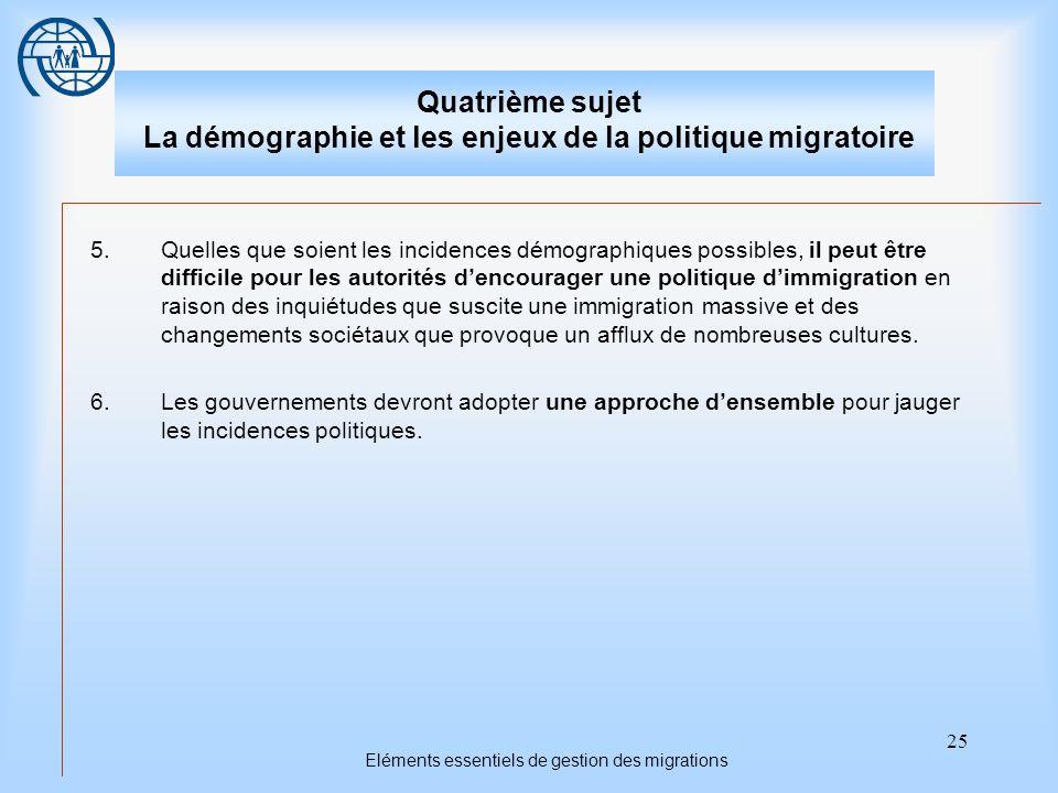 25 Eléments essentiels de gestion des migrations Quatrième sujet La démographie et les enjeux de la politique migratoire 5.Quelles que soient les inci