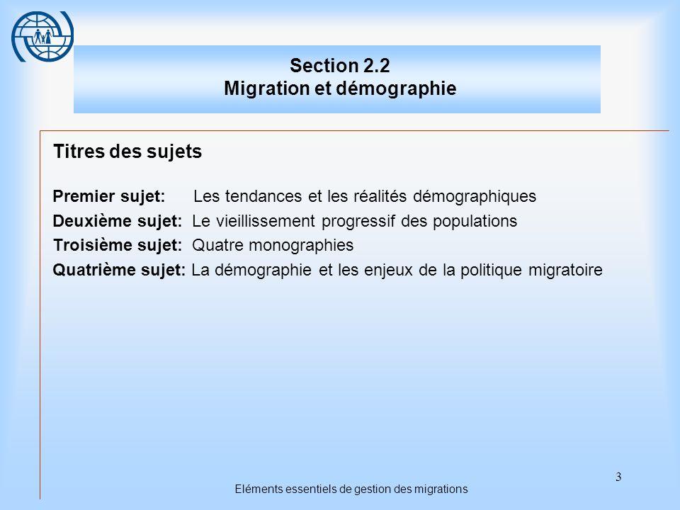 3 Eléments essentiels de gestion des migrations Section 2.2 Migration et démographie Titres des sujets Premier sujet: Les tendances et les réalités dé