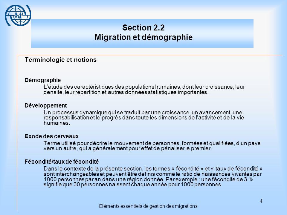 4 Eléments essentiels de gestion des migrations Section 2.2 Migration et démographie Terminologie et notions Démographie Létude des caractéristiques d