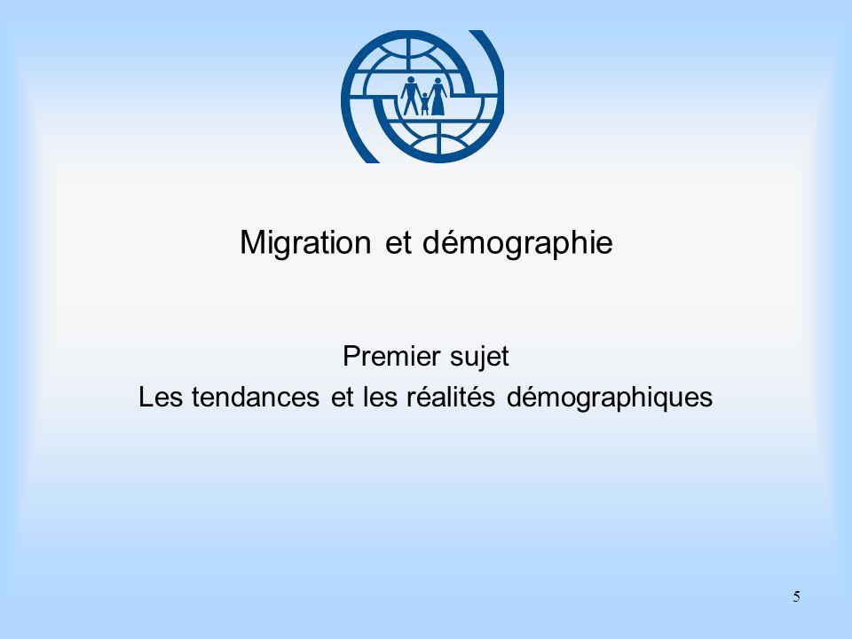 5 Migration et démographie Premier sujet Les tendances et les réalités démographiques