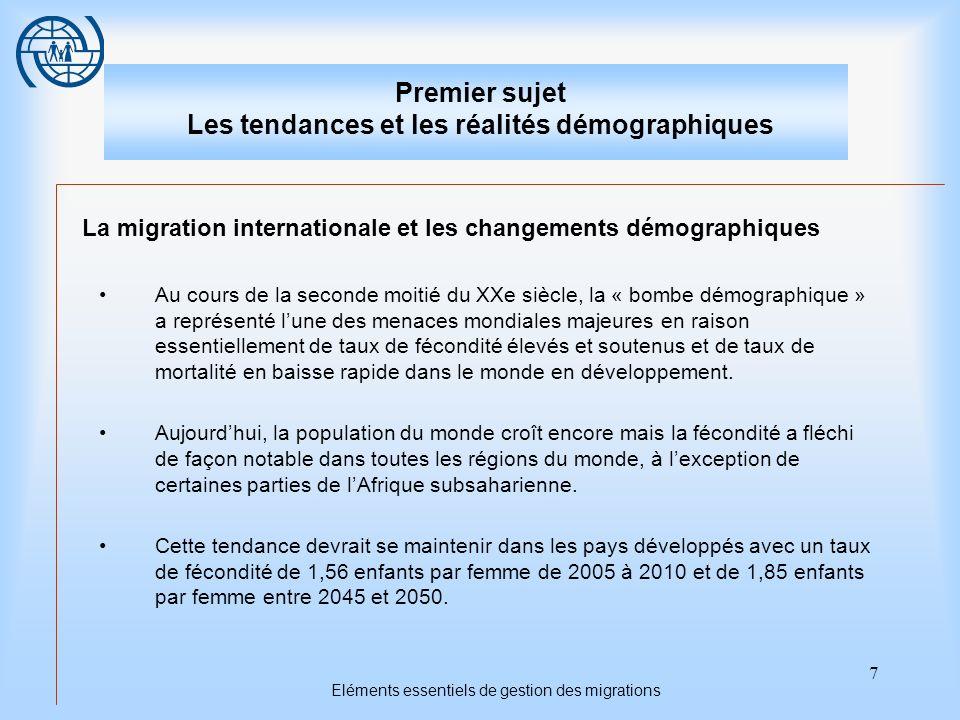 7 Eléments essentiels de gestion des migrations Premier sujet Les tendances et les réalités démographiques La migration internationale et les changeme