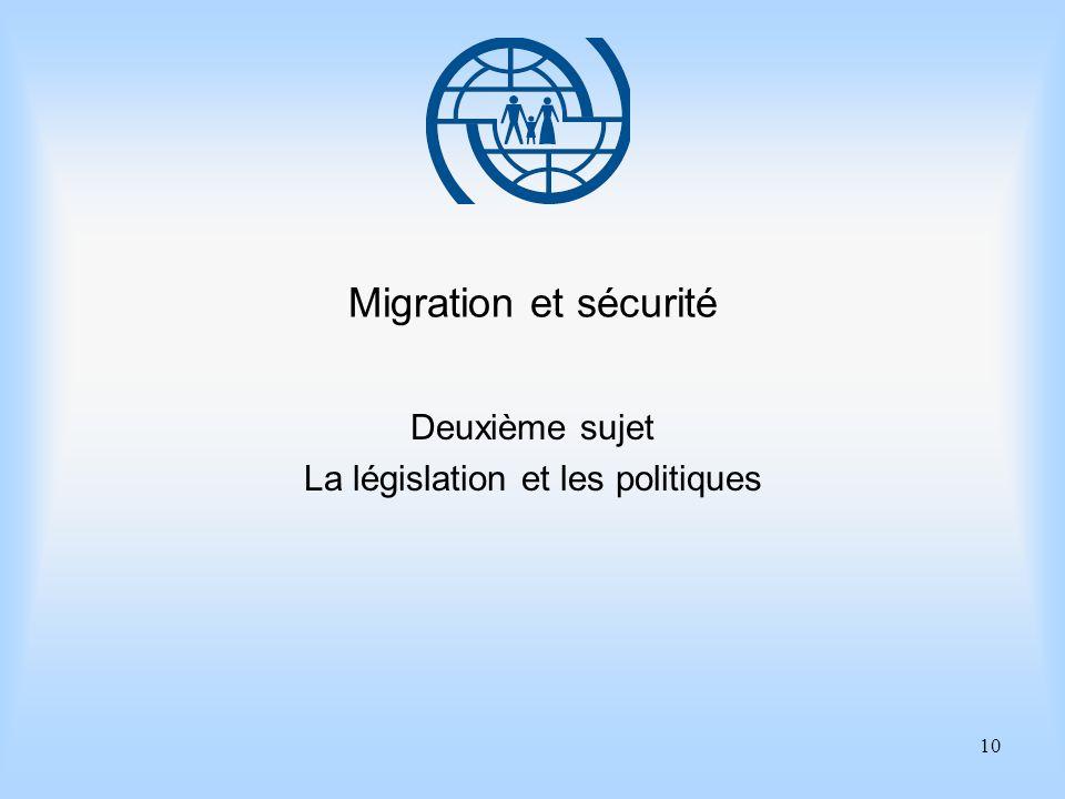 10 Migration et sécurité Deuxième sujet La législation et les politiques