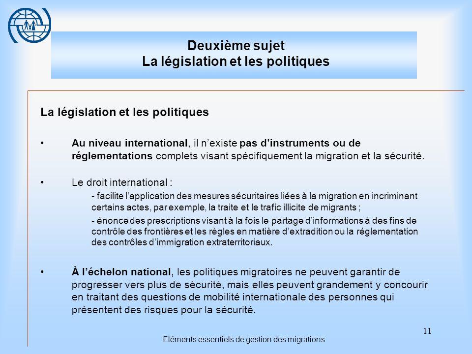 11 Eléments essentiels de gestion des migrations Deuxième sujet La législation et les politiques La législation et les politiques Au niveau internatio