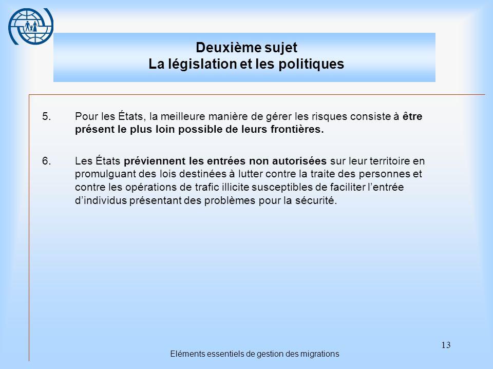 13 Eléments essentiels de gestion des migrations Deuxième sujet La législation et les politiques 5.Pour les États, la meilleure manière de gérer les r