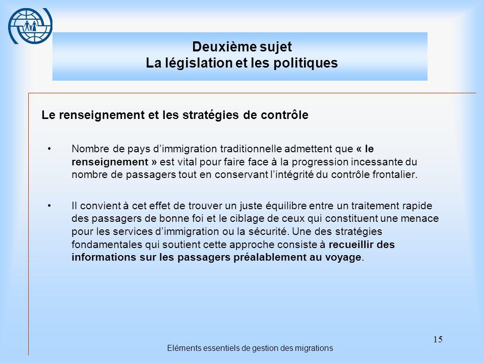 15 Eléments essentiels de gestion des migrations Deuxième sujet La législation et les politiques Le renseignement et les stratégies de contrôle Nombre