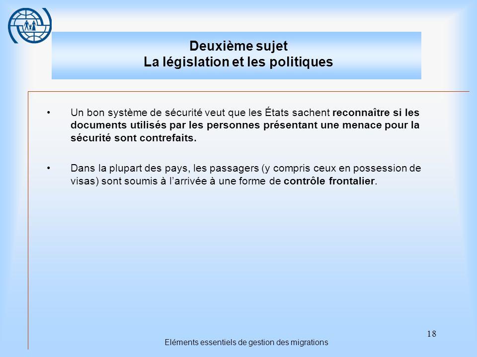 18 Eléments essentiels de gestion des migrations Deuxième sujet La législation et les politiques Un bon système de sécurité veut que les États sachent