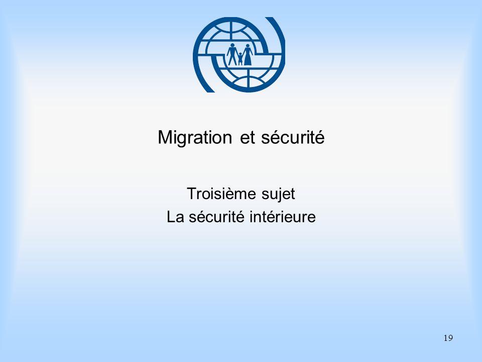 19 Migration et sécurité Troisième sujet La sécurité intérieure