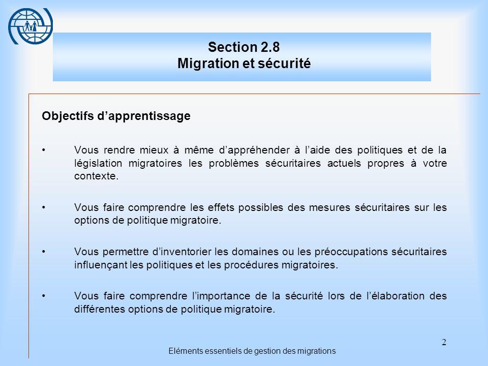 3 Eléments essentiels de gestion des migrations Section 2.8 Migration et Sécurité Titres des sujets Premier sujet:La sécurité et les États Deuxième sujet: La législation et les politiques Troisième sujet: La sécurité intérieure